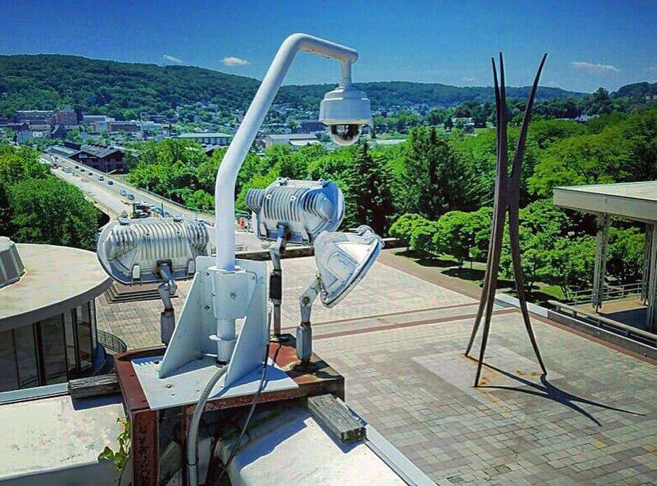 surveillance camera on rooftop